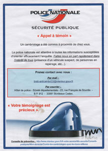 tract appel à témoins Police Nationale